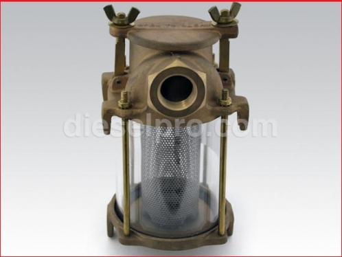 Intake water strainer 1 1/2 pipe size, 11 1/2 height, 7 1/4 width