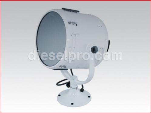 Marine searchlight 19 inch diam white 120 volts, wheel control, Perko