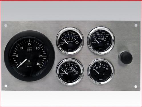 Complete electrial 12V gauge panel set without sender. Stainless steel