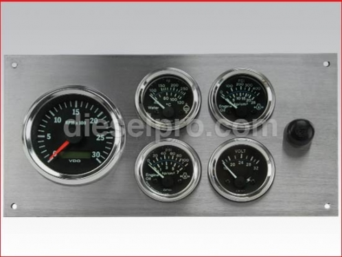 Marine Gauge Panel 24 volts, stainless steel (tach with sender)
