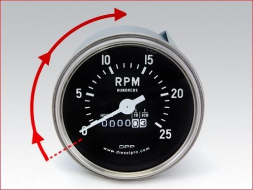 Tachymètre mécanique pour Detroit Diesel - avec compteur horaire